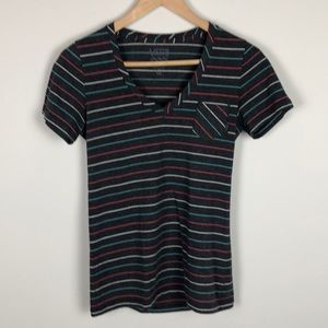 Vans Striped V-Neck Tee - Size Extra Small